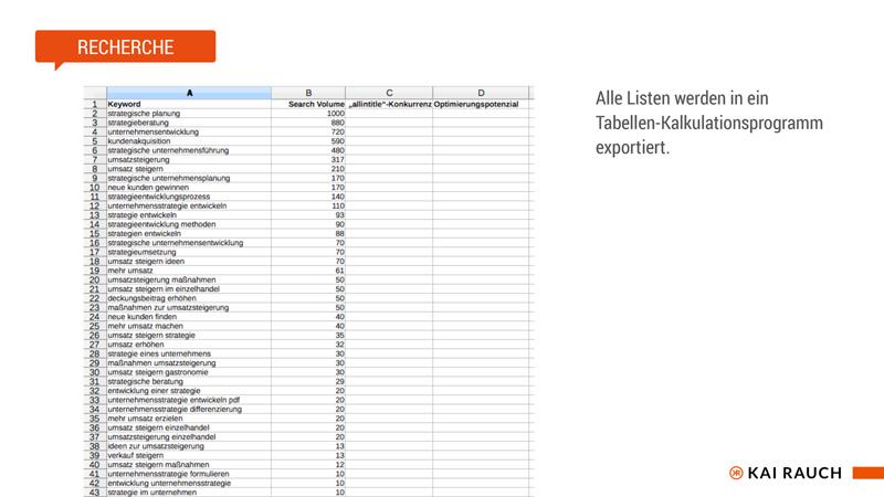 Keywordliste in Tabellenkalkulationsprogramm exportieren