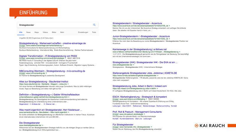 Google SERP - SEO-Keywords finden