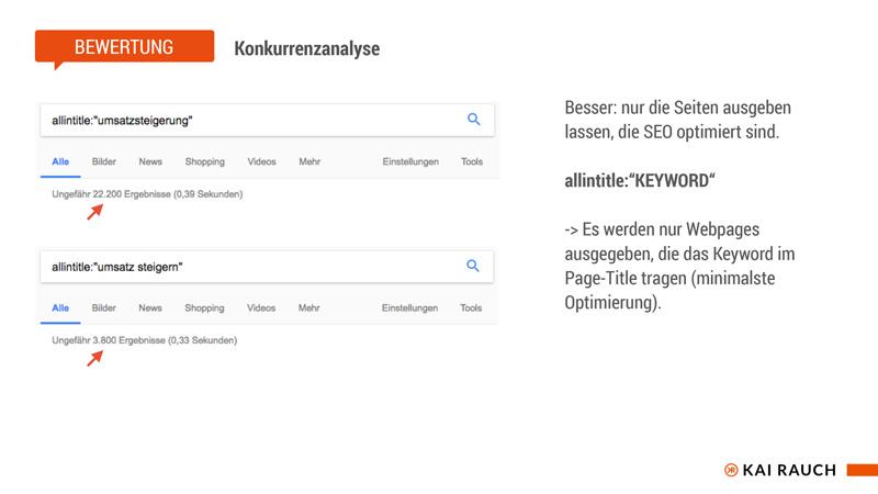 allintitle - Webistes mit wenigstens minimaler Suchmaschninenoptimierung